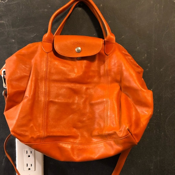 Le Pliage Cuir Orange Leather Satchel